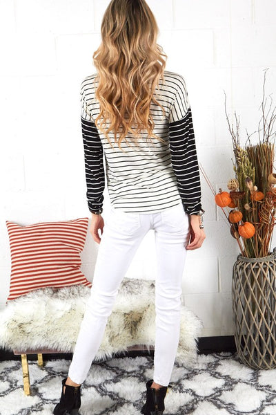 Black & White Striped Long Sleeve Shirt