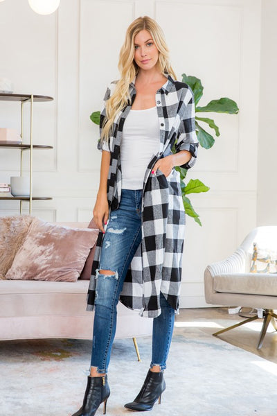 Black & White Plaid Long Cardigan