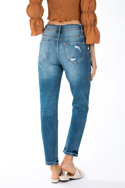 KATE HIGH RISE WB DETAIL MOM FIT JEAN