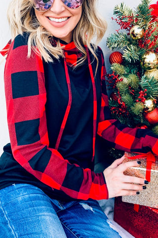 Red and Black Buffalo Plaid Hoodie