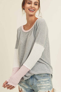 Waffle Color Block Long Sleeve