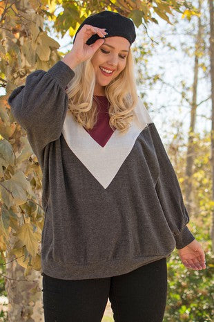 Charcoal Body & Burgundy Long Sleeve Top