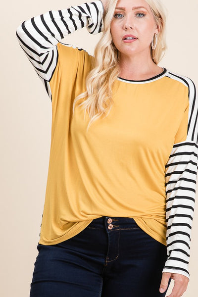 Curvy Gold Striped Long Sleeve Top