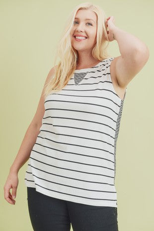 Curvy Black & White Tank