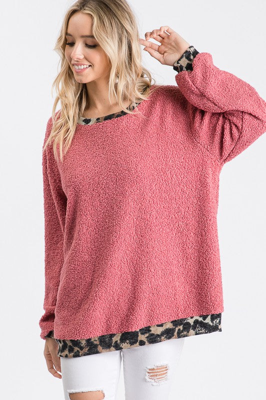Dusty Rose Popcorn Solid Animal Contrast Top