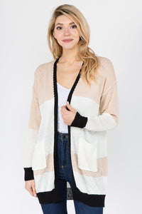 Taupe & Black Cardigan