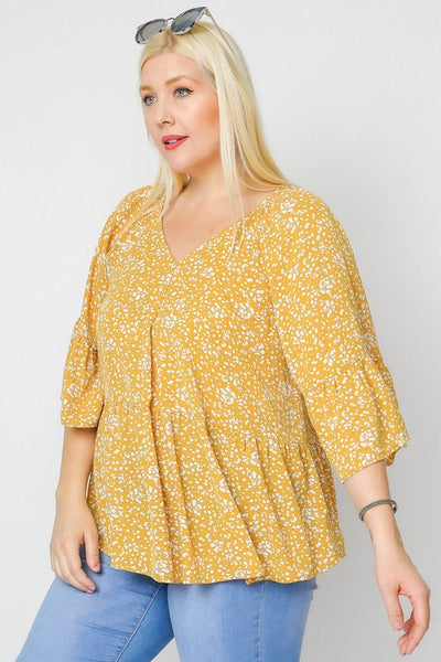 Curvy Yellow Floral 3/4 Sleeve
