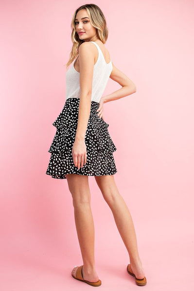 Black & White Spotted Mini Skirt