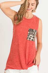 Red & Leopard Contrast Tank Top