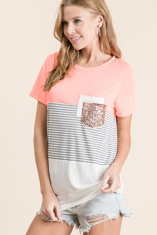 Neon Coral Contrast Sequin Pocket Top