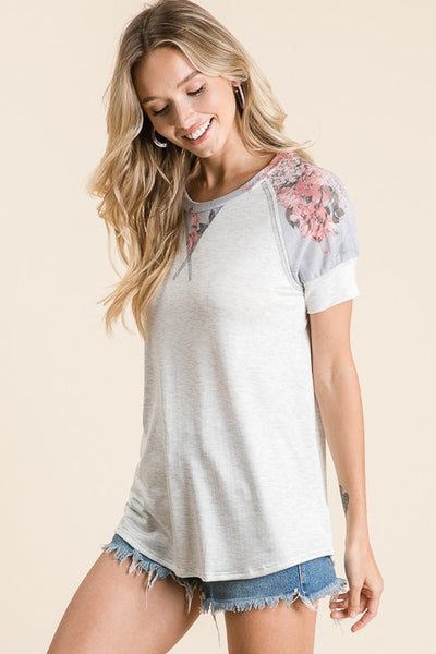 Heather Grey Floral Sleeve Top