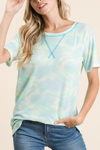 Mint Tie Dye Short Sleeve Top