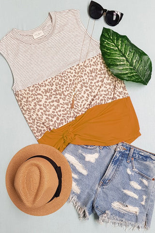 Gold Pin Stripe & Leopard Tank Top