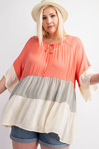 Curvy Color Block Ruffle Top