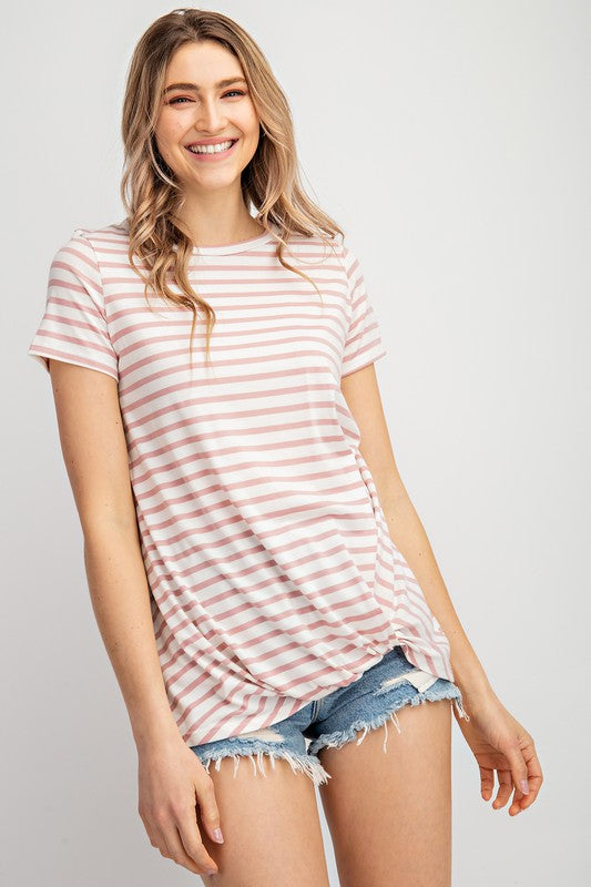 Rose & Ivory Stripe Twisted Knot Top