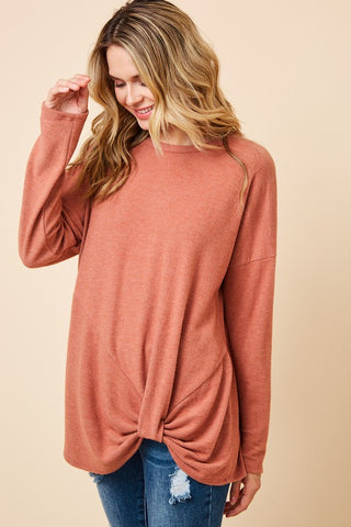 Curvy Burnt Orange Front Knot Top