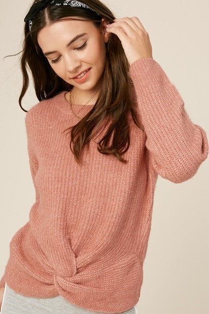 Dusty Rose Front Knot Pullover Sweater
