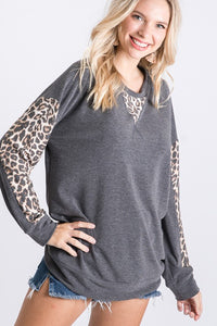 Charcoal Leopard Long Sleeve Round Neck Top