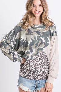 Camo and Leopard Long Sleeve Top