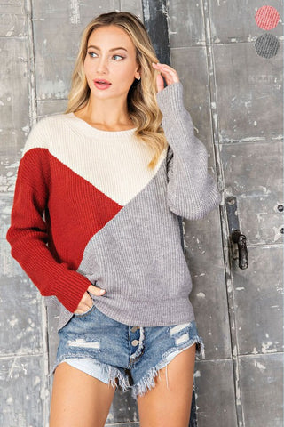 Rust Color Block Knit Sweater