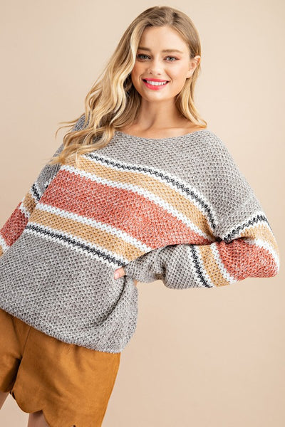 Rust and Grey Striped Knit Sweater