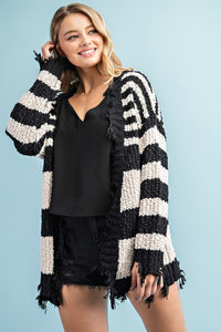 Distressed Oatmeal & Black Stripe Cardigan