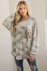Sage Tie Dye Contrast Pocket Long Sleeve