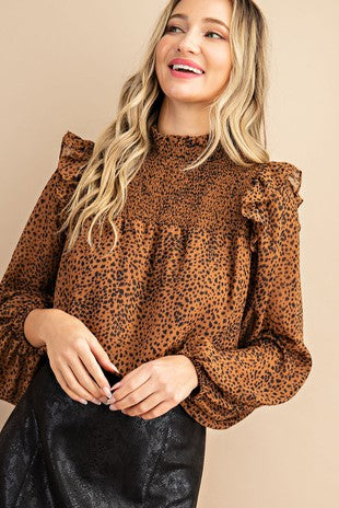 Smocked Mock Neck Printed Top
