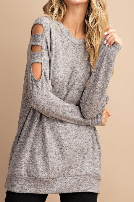 Cut Out Cold Shoulder Casual Long Sleeve Top