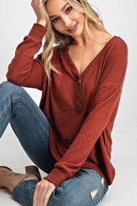 Brick Red Long Sleeve Top w/ Button V Neck