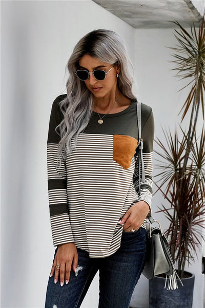 Olive Green Striped Mustard Pocket Long Sleeve Top