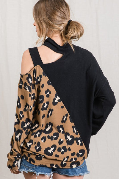 Leopard Contrast Shoulder Cut Out Sleeve