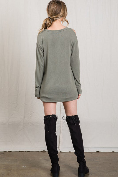 Olive Open Shoulder Top