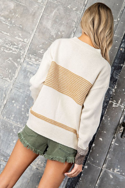 Mixed Stripe Sweater - Mustard