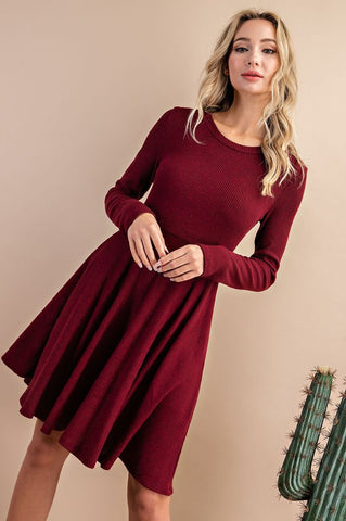 Wine Long Sleeve Dress