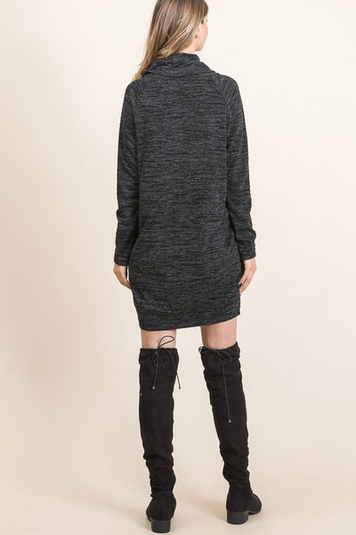 Pocket Cowl Neck Knee Length Sleeve Dress