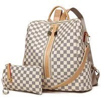 Cream Checker Back Pack