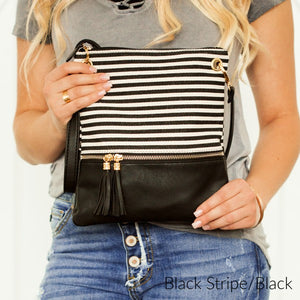 Trendy Stripe Crossbody Purse