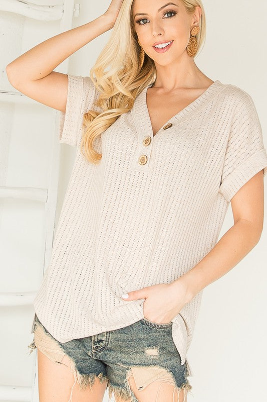 Oatmeal V-Neck Button Top