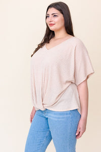 Curvy Oatmeal Front Twist Top