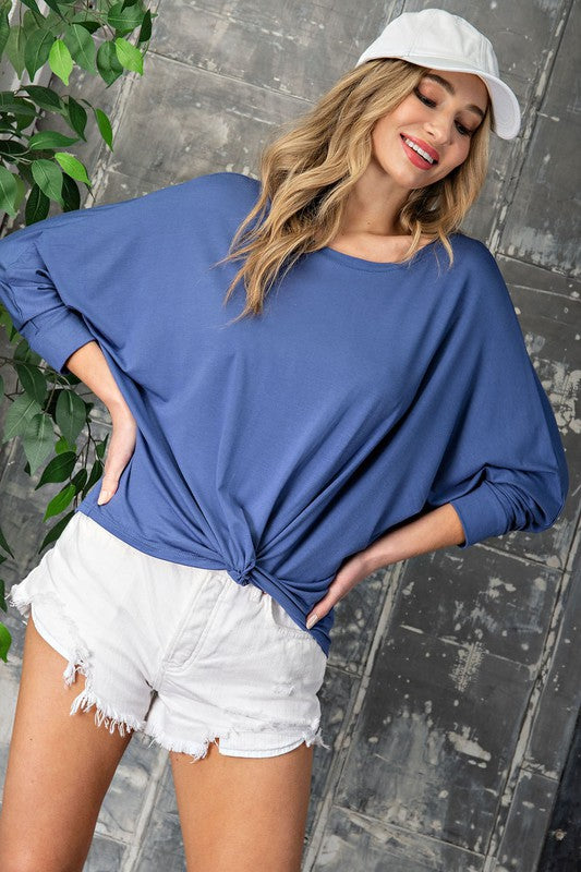Blue Twist front long sleeve top