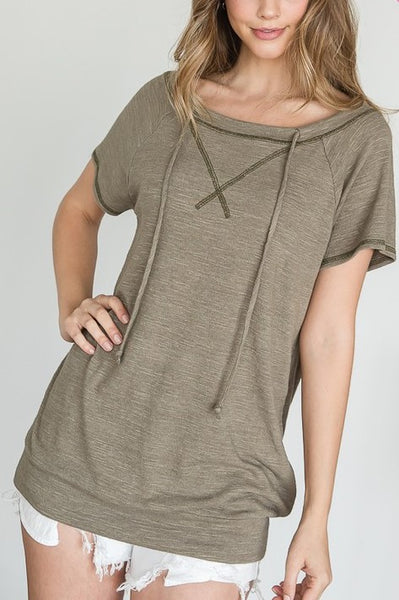 Olive Drawsting Loose Fit Top