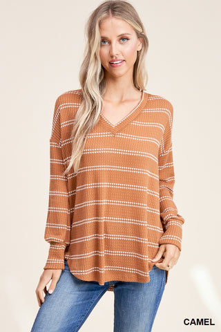 Camel Striped Long Sleeve Top