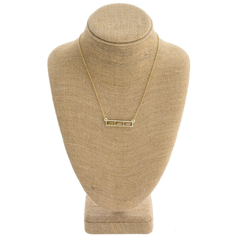 Short Tri Gem Necklace