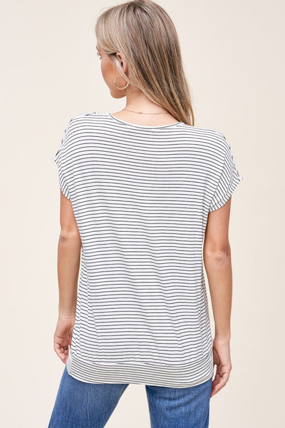 Ivory and Black Stripe Top