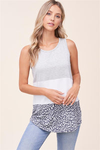 Grey and Ivory Leopard Color Block Top