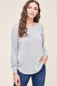 Ivory & H. Grey Round Neck Striped Long Sleeve