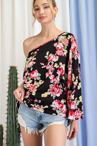 Flower print one shoulder top