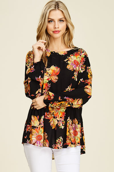 Black Floral Long Sleeve Blouse