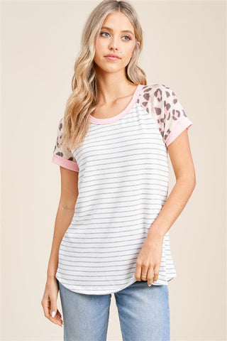 Ivory and Peach Leopard Tee